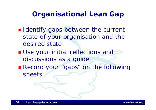 www.leanuk.org Organisational Lean Gap  Identify gaps between the current state of your organisation and the desired stat...