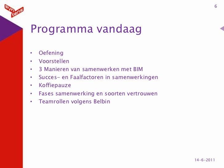 Programma vandaag<br />Oefening<br />Voorstellen<br />3 Manieren van samenwerken met BIM<br />Succes- en Faalfactoren in s...