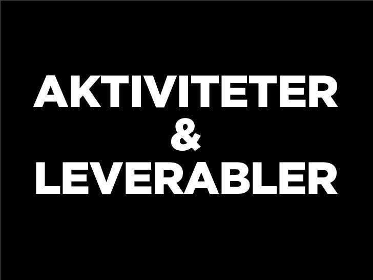 AKTIVITETER      & LEVERABLER