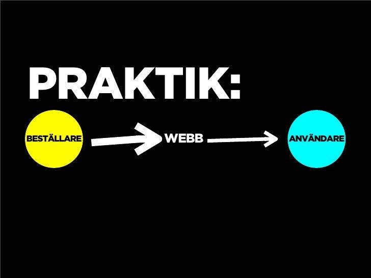 PRAKTIK: BESTÄLLARE   WEBB   ANVÄNDARE