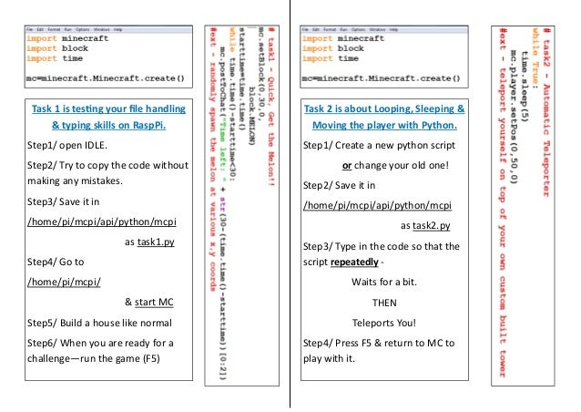 Learning Python through Minecraft on the Raspberry Pi Worksheets – Typing Worksheets