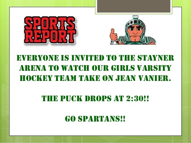 Everyone is invited to the stayner arena to watch our girls varsity hockey team take on jean vanier.     The Puck drops at...