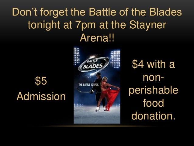 Don't forget the Battle of the Blades  tonight at 7pm at the Stayner               Arena!!                          $4 wit...