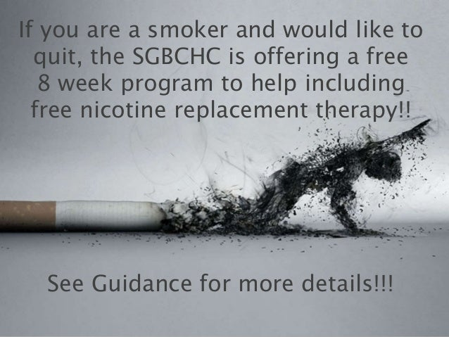If you are a smoker and would like to  quit, the SGBCHC is offering a free   8 week program to help including  free nicoti...