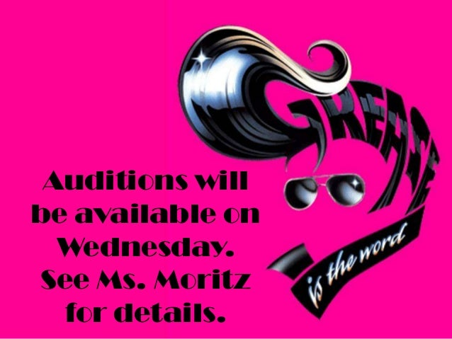 Auditions will be available on Wednesday. See Ms. Moritz for details.