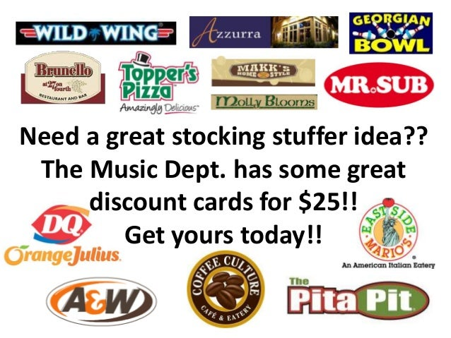 Need a great stocking stuffer idea?? The Music Dept. has some great discount cards for $25!! Get yours today!!