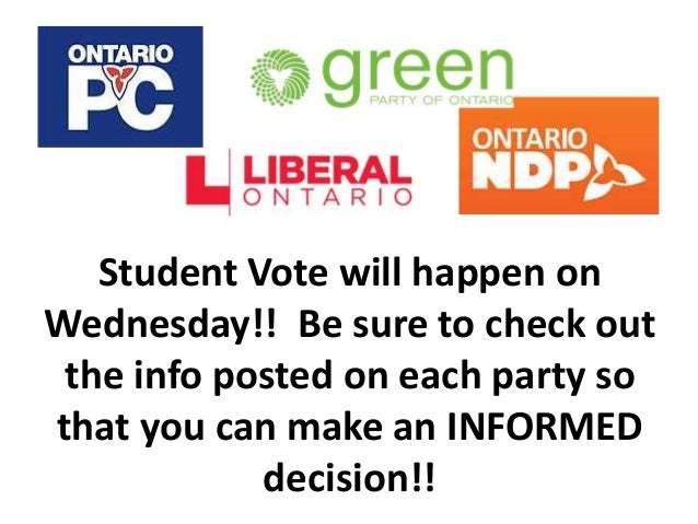 Student Vote will happen on Wednesday!! Be sure to check out the info posted on each party so that you can make an INFORME...