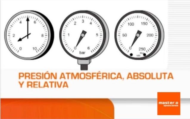 Presión atmosférica, absoluta y relativa ¿Quieres superar unas Oposiciones? www.masterd.es Infórmate: 900 30 40 30
