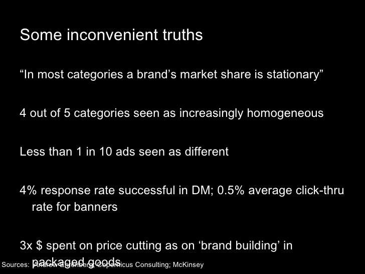 "Some inconvenient truths <ul><li>""In most categories a brand's market share is stationary"" </li></ul><ul><li>4 out of 5 ca..."