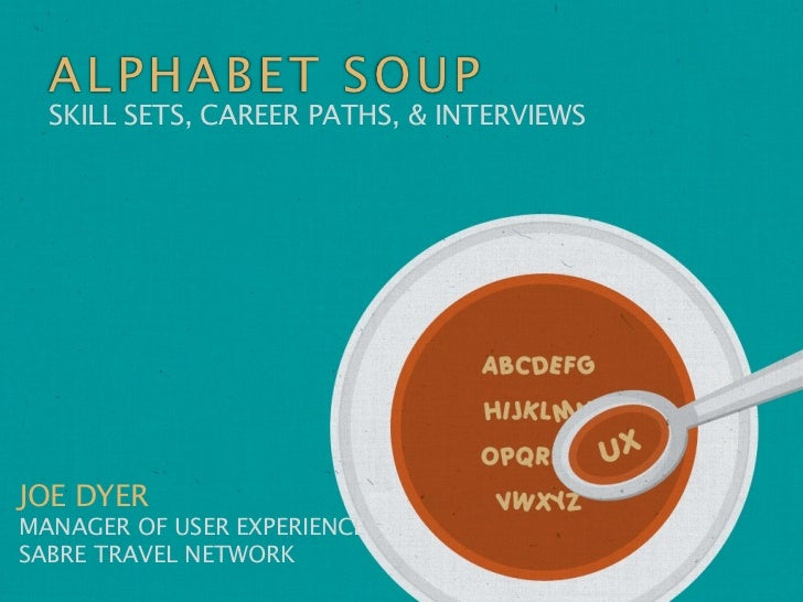 ALPHAB ET SO UP  SKILL SETS, CAREER PATHS, & INTERVIEWSJOE DYERMANAGER OF USER EXPERIENCESABRE TRAVEL NETWORK