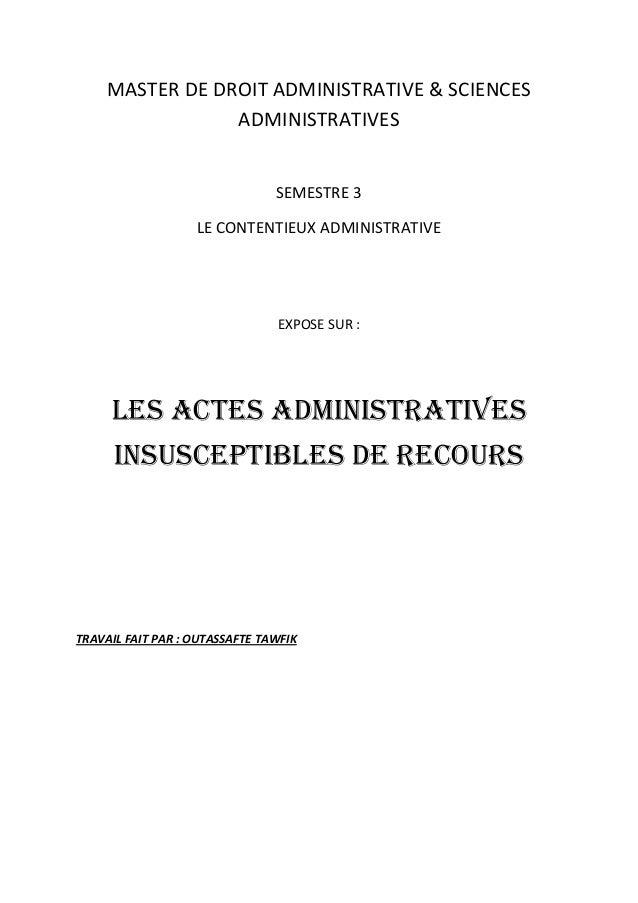 MASTER DE DROIT ADMINISTRATIVE & SCIENCES                 ADMINISTRATIVES                                SEMESTRE 3       ...