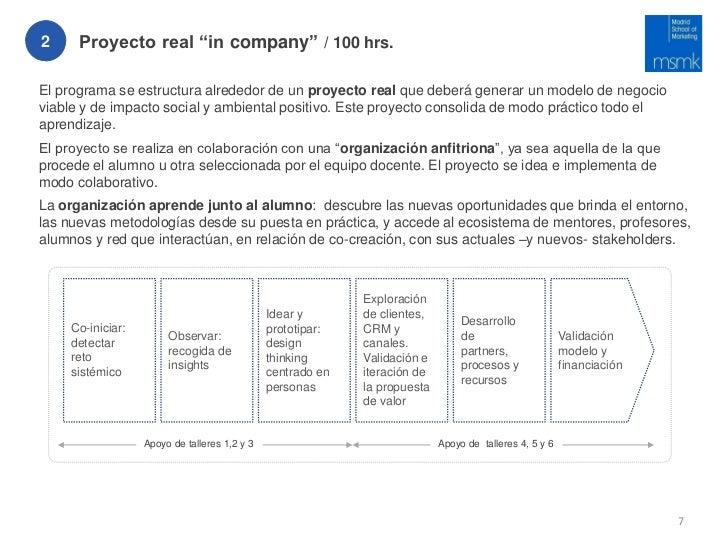 """2     Proyecto real """"in company"""" / 100 hrs.El programa se estructura alrededor de un proyecto real que deberá generar un m..."""