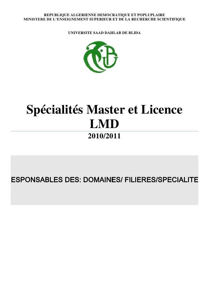 République Algérienne Démocratique et PopluplaireMinistere de l'Enseignement SUPERIEUR ET DE LA RECHERCHE SCIENTIFIQUEuNIV...