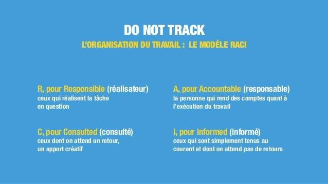 DO NOT TRACK L'ORGANISATION DU TRAVAIL : LE MODÈLE RACI R, pour Responsible (réalisateur) ceux qui réalisent la tâche en q...