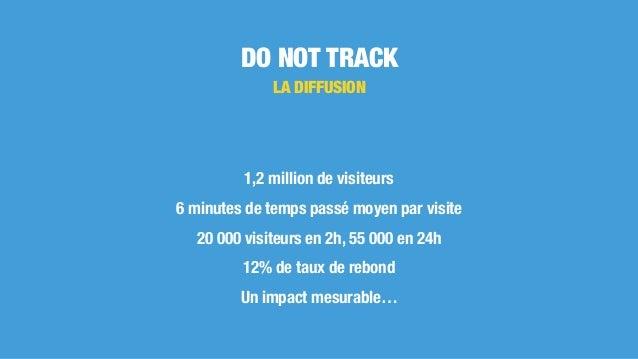DO NOT TRACK LA DIFFUSION 1,2 million de visiteurs 6 minutes de temps passé moyen par visite 20 000 visiteurs en 2h, 55 00...