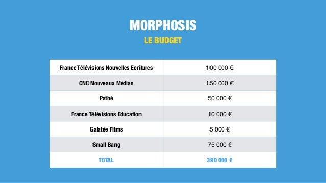 MORPHOSIS LE BUDGET France Télévisions Nouvelles Ecritures 100000€ CNC Nouveaux Médias 150000€ Pathé 50000€ France T...