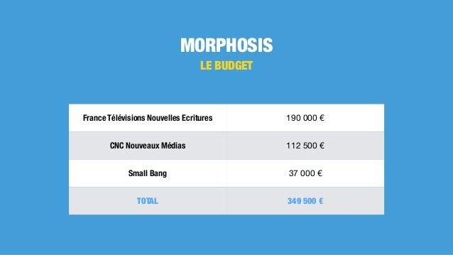 MORPHOSIS LE BUDGET France Télévisions Nouvelles Ecritures 190000€ CNC Nouveaux Médias 112500€ Small Bang 37000€ TOT...