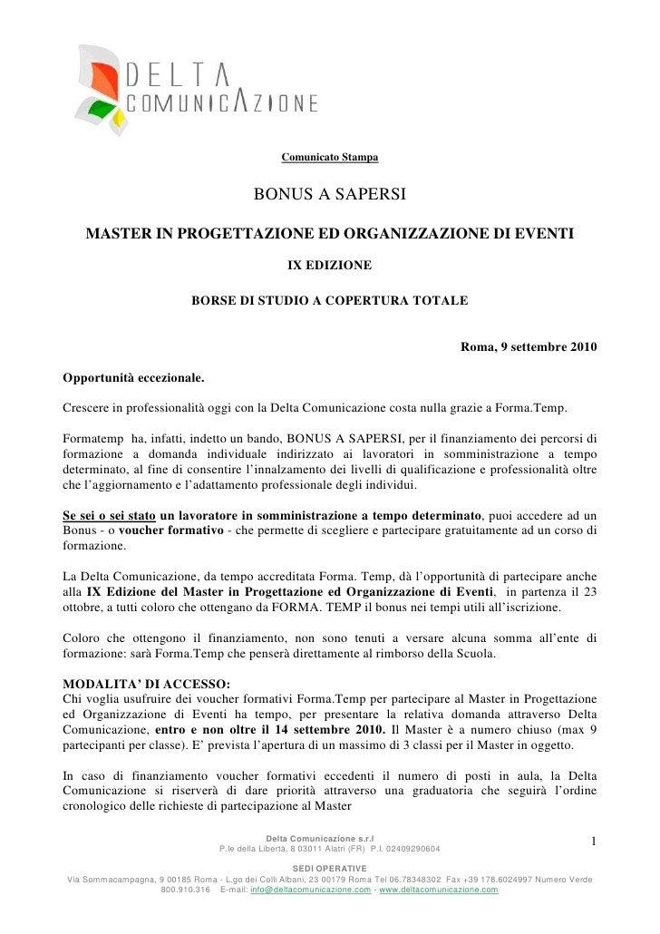 Comunicato Stampa                                             BONUS A SAPERSI      MASTER IN PROGETTAZIONE ED ORGANIZZAZIO...