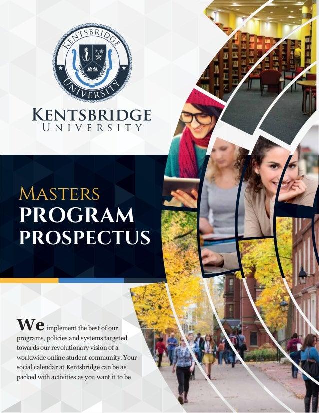 Kentsbridge University Masters Degree Program Prospectus