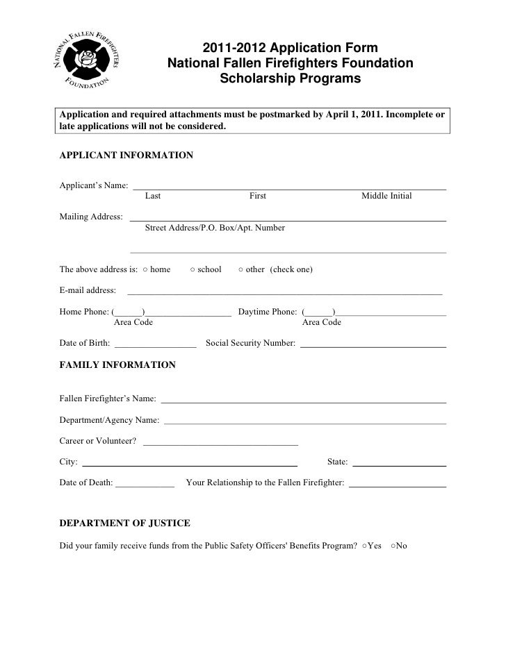 Masterguard Scholarship Application For National Fallen Firefighters – Scholarship Application Form