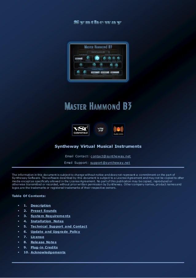 Master Hammond B3 Organ VST, VST3, Audio Unit Plugins  EXS24