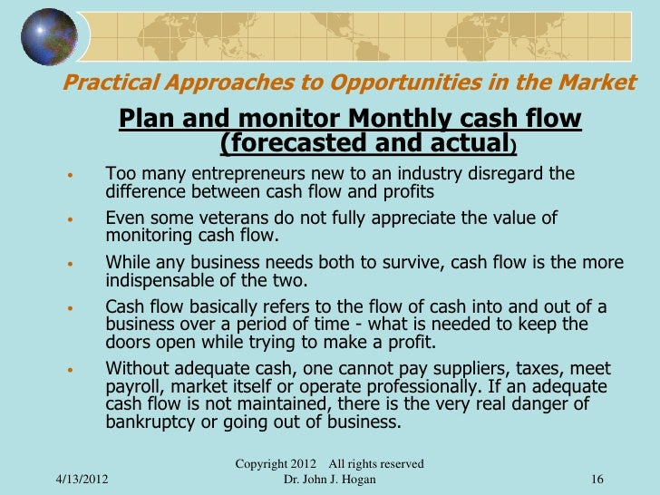 Practical Approaches to Opportunities in the Market            Plan and monitor Monthly cash flow                   (forec...