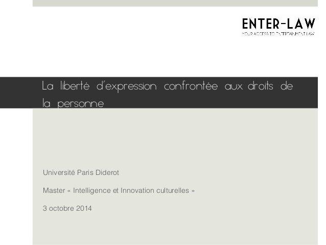La liberté d'expression confrontée aux droits de  la personne  Université Paris Diderot!  Master « Intelligence et Innovat...