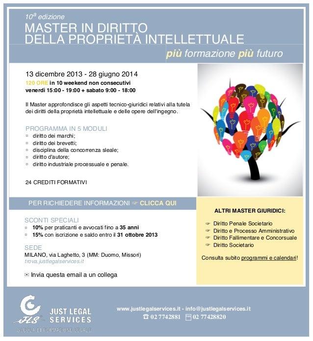 10a edizione  MASTER IN DIRITTO DELLA PROPRIETÀ INTELLETTUALE più formazione più futuro 13 dicembre 2013 - 28 giugno 2014 ...