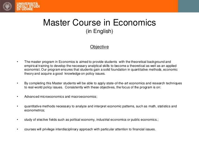 masters in economics The master in economics is based on a deep understanding of modern economics and econometrics by building on the faculty's strength we provide our.