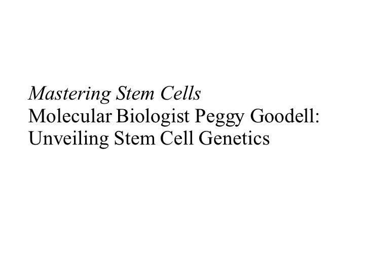 Mastering Stem Cells Molecular Biologist Peggy Goodell: Unveiling Stem Cell Genetics