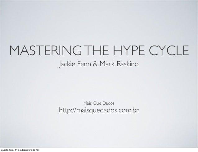 MASTERING THE HYPE CYCLE Jackie Fenn & Mark Raskino  Mais Que Dados  http://maisquedados.com.br  quarta-feira, 11 de dezem...