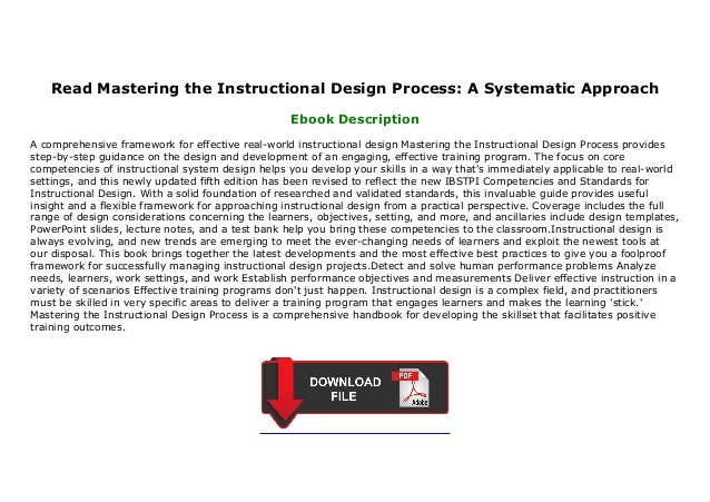 Read Mastering The Instructional Design Process A Systematic Approach