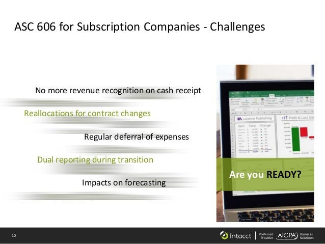 10 Preferred Provider Business Solutions ASC 606 for Subscription Companies - Challenges Reallocations for contract change...