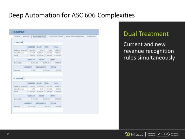 16 Preferred Provider Business Solutions Deep Automation for ASC 606 Complexities Dual Treatment Current and new revenue r...
