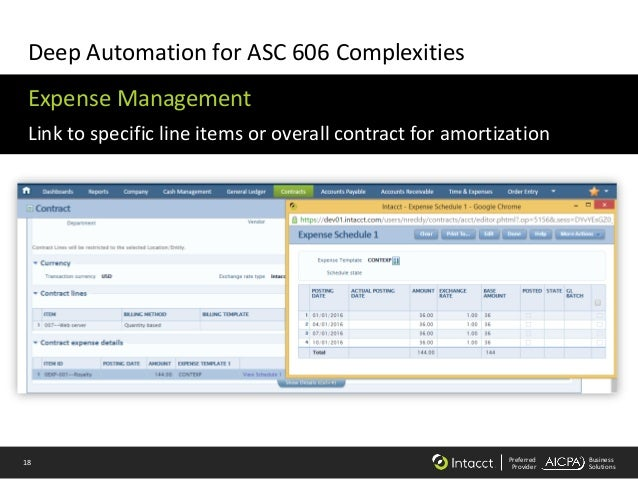18 Preferred Provider Business Solutions Deep Automation for ASC 606 Complexities Expense Management Link to specific line...