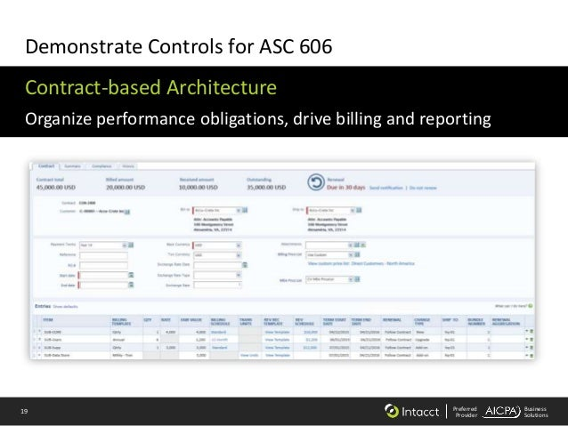 19 Preferred Provider Business Solutions Demonstrate Controls for ASC 606 Contract-based Architecture Organize performance...