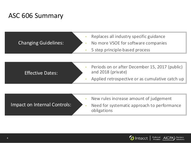 4 Preferred Provider Business Solutions ASC 606 Summary • Replaces all industry specific guidance • No more VSOE for softw...