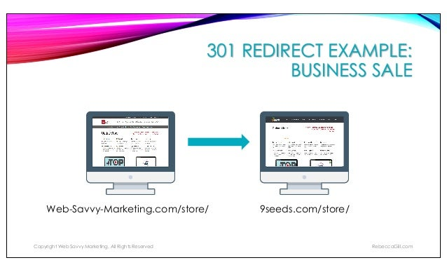 301 REDIRECT EXAMPLE: DELETE OLD POST Copyright Web Savvy Marketing, All Rights Reserved RebeccaGill.com CrazyAnimals.com/...