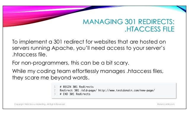 MANAGING 301 REDIRECTS: WORDPRESS PLUGIN - REDIRECTION This plugin is very intuitive and is easy enough for any website ow...