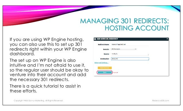 MANAGING 301 REDIRECTS: WORDPRESS PLUGIN – YOAST SEO The plugin also tells you when you're about to create a redirect that...