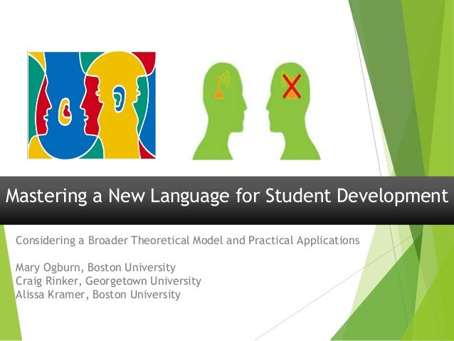 Mastering a New Language for Student Development Considering a Broader Theoretical Model and Practical Applications Mary O...