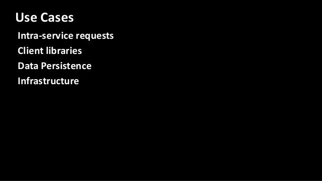Intra-service requests Client libraries Data Persistence Infrastructure Use Cases