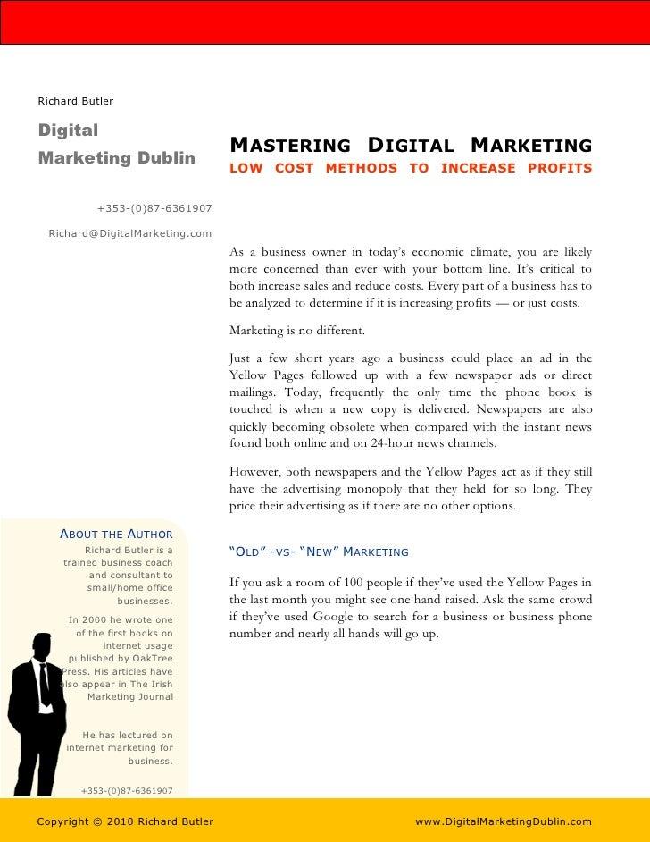 Richard Butler  Digital                                   MASTERING DIGITAL MARKETING Marketing Dublin                    ...