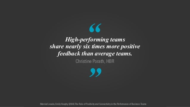 """"""" """" Christine Porath, HBR High-performing teams share nearly six times more positive feedback than average teams. Marcial ..."""