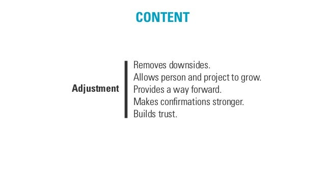 CONTENT Removes downsides. Allows person and project to grow. Provides a way forward. Makes confirmations stronger. Builds ...
