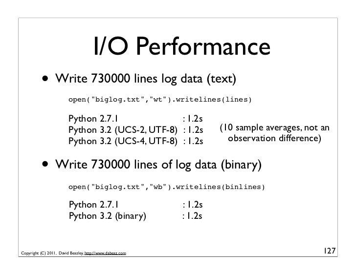 "I/O Performance          • Write 730000 lines log data (text)                         open(""biglog.txt"",""wt"").writelines(l..."