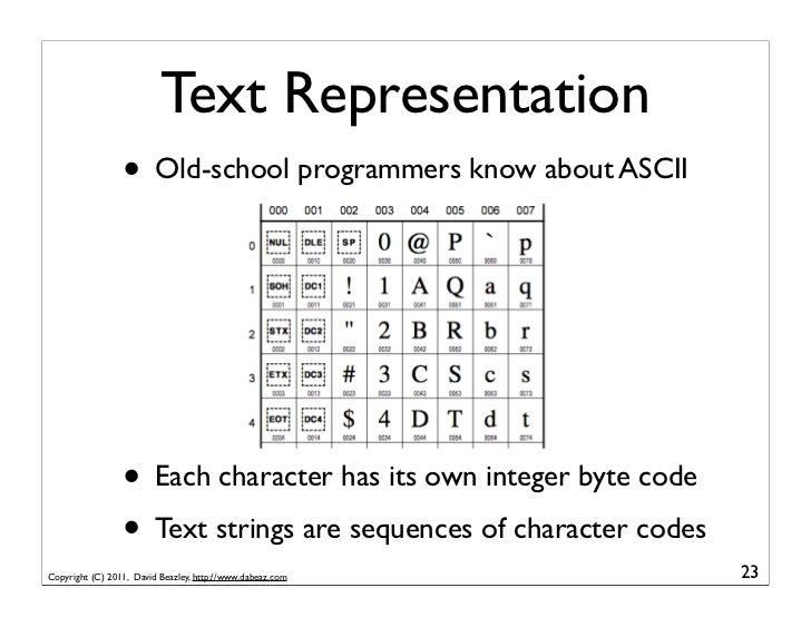 Text Representation                 • Old-school programmers know about ASCII                 • Each character has its own...