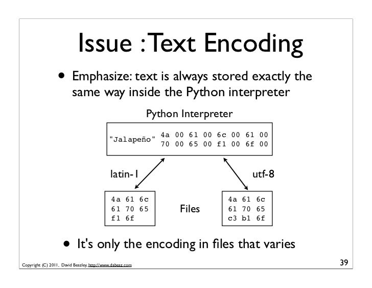 Issue : Text Encoding                  • Emphasize: text is always stored exactly the                         same way ins...
