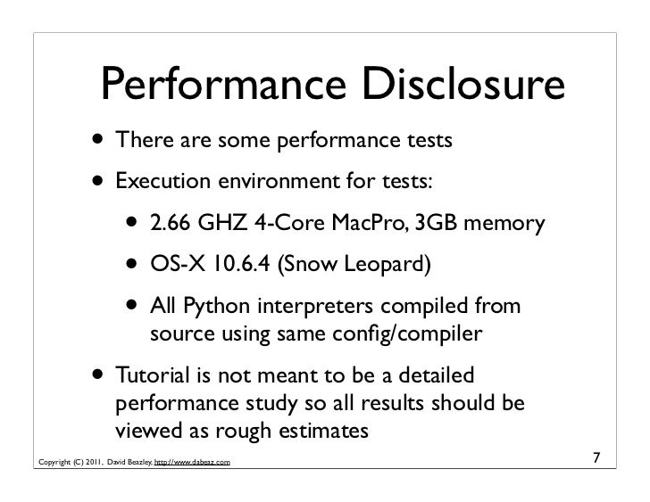 Performance Disclosure               • There are some performance tests               • Execution environment for tests:  ...