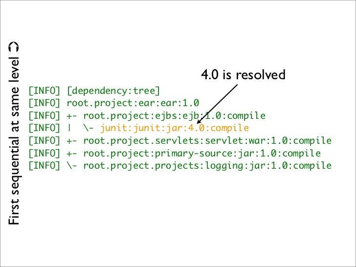 <*Management>  ‣ <dependencyManagement>  ‣ Inheritance for dependency versions.
